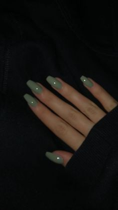 The Most Beautiful Acrylic Nails for Manicure for Summer 2019 - Page 3 of 20 - Fashion - Aycrlic nails Cute Acrylic Nails, Acrylic Nail Designs, Cute Nails, Pretty Nails, Acrylic Nails Green, Acrylic Nails For Summer, Squoval Acrylic Nails, Mint Green Nails, Green Nail Designs