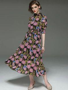 Floral Pattern Stand Collar Tight Elastic Big Hem Maxi Dress