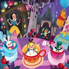 Mural for Disney Tokyo Celebration Hotel by Joey Chou - Closeup # 1 Disney Pixar, Walt Disney, Disney Amor, Disney And Dreamworks, Disney Animation, Disney Love, Disney Parks, Disney Artwork, Disney Fan Art