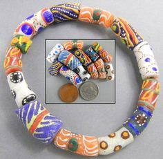 sets of mixed glass beads in many colours from Agon Manya, Ghana.