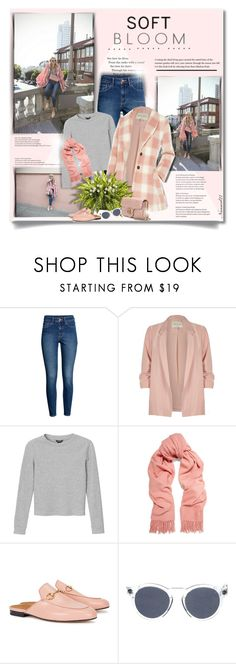 """Soft bloom..."" by nannerl27forever ❤ liked on Polyvore featuring H&M, River Island, Monki, Acne Studios, Gucci and Illesteva"