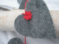 Heart garland, felt grey and red crocheted flowers,banner decoration, Valentine gift, hanging decor,. $10.00, via Etsy.