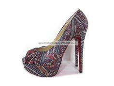 Christian Louboutin Lady Peep 140mm Pattern Leather Platform Peep Toe Pumps Red