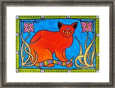 Home decor for Kids Room. Cat painting Indian Cat With Lilies colorful Cat Art Dora Hathazi Mendes for kids, cat, flower, gold, cats, colorful, bright, for girls room, art for children, pets,pet, feline, blue, green, red, pink, frame, floral, ornamental, organic, homedecor, animals, mystic, art nouveau, india, indian, lilies, lily, bindi, spiritual, whimsical, feline, beauty, enhancement, demon, evil, luck, gorgeous, cat art, red cat, birthday present, ginger, #dorahathazi