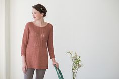 Peony by Pam Allen | Aran wt. | Bodice cuff to cuff, seamed, then p.u. and worked down from the waist