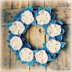 Hello friends!!  Wanted to pop in for a moment to share a wreath made from materials you may have on hand.  An old pair of jeans, a  canvas drop cloth, mini doi…