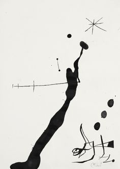 Joan Miró (1893-1983) Femme et oiseau dans la nuit II (1971-1972) brush and ink on paper 49.5 x 35.2 cm
