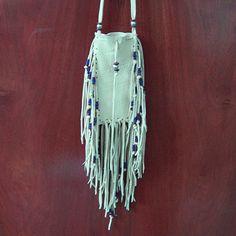 Medicine Bag   Beautiful Leather Medicine Bag with Neck Strap...Cream...Smooth AMULET ...