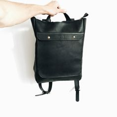 HandMade BLACK LEATHER BACKPACK  / by Backpacks4Friends on Etsy