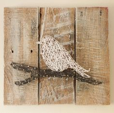 Bird on a Branch String Art Reclaimed Wood by ElevenOwlsStudio