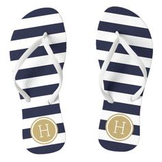 Navy and Gold Nautical Custom Initial Wedding Party Bridesmaids Preppy Coastal White Navy Stripes Monogram Flip Flop Sandals Shoes  Love these! so PERFECT for a nautical/beach wedding!!!