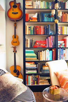 Little Green Notebook's Brownstone library shelves