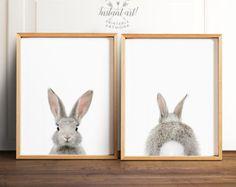 Bunny butt, Rabbit print, PRINTABLE art set, Nursery wall art, Woodland animals, Nursery art, Baby animal prints, Nursery animal art, Bunny