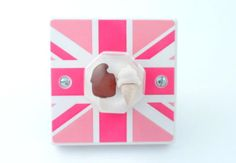 Pink British Flag and Ice Creams Light Switch or Dimmer Switch - Handmade by Candy Queen Designs