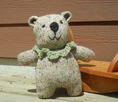 Knit Teddy Bear Knit Bear for Infant by FlossFlowersandCraft