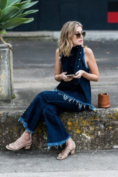frayed matching denim outfit