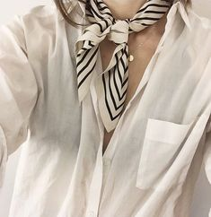 white shirt + patterned scarf = classic look
