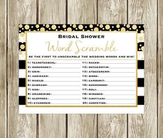 Bridal Shower Word Scramble, Black White and Gold Bridal Shower, Bridal Shower Game, Bridal Word Scramble, Instant Download, 003