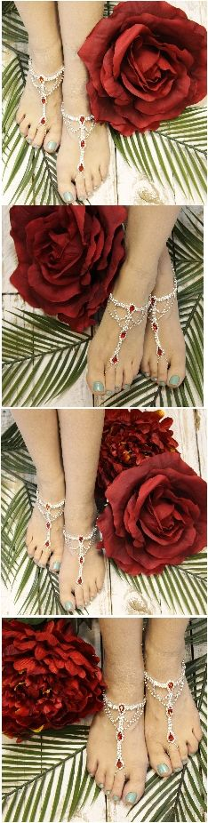 Our breathtaking red rhinestone barefoot sandals are the perfect foot jewelry for Holiday, Valentine and Military weddings. Elegant silver rhinestone barefoot sandals with lovely red jewels for your d