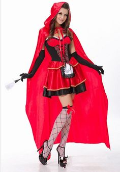 Women Sexy Little Red Riding Hood Adult Costume Fancy Dress Up Halloween Cosplay: Amazon.co.uk: Clothing