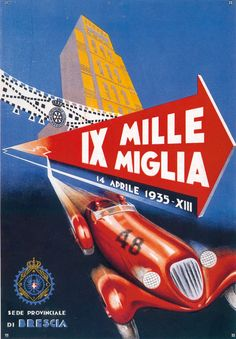 Miglia's anniversaries and posters -Mille Miglia's anniversaries and posters - Poster Ads, Car Posters, Grand Prix, Cool Car Drawings, Racing Events, Vintage Race Car, Automotive Art, Courses, Antique Cars