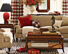 Love decorating with Tartan plaids.I want plaid curtains for the holidays! Living Room Red, Living Spaces, Red Curtains Living Room, Plaid Curtains, Interior Decorating, Interior Design, Decorating Ideas, Home And Deco, Country Decor
