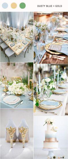Dusty blue and gold wedding color palette idea / http://www.deerpearlflowers.com/dusty-blue-wedding-color-combos/ #weddingcolors #weddingideas #bluewedding #dustyblue