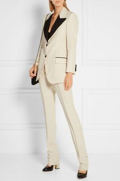 tuxed up (Gucci two-tone blazer + Gucci wool and silk-blend faille straight-leg pants + Gucci bow-embellished elaphe and leather pumps + Gucci 'dionysus' suede and leather shoulder bag) Gucci Suit, Faux Leather Pants, Leather Pumps, Gucci Shoulder Bag, Tuxedo Jacket, Tuxedo For Men, Wool Pants, Straight Leg Pants, Suits For Women