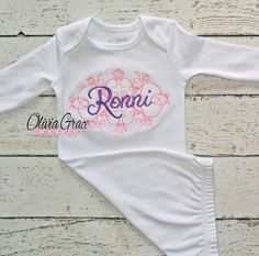 Embroidered Name or Monogram Newborn Baby Gown by OliviaGraceCouture one of a kind custom baby shower gifts!