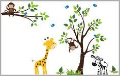 "Jungle Wall Decals, Safari Wall Decals, Nursery Room Stickers, Baby Room Stickers, Removable Wall Decals for Nursery - 79"" x 165"""