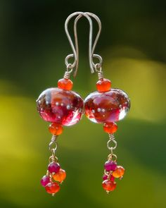 Red/Orange Hibiscus Artisan Glass Bead Earrings