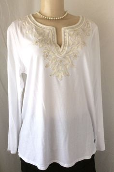 J.Jill White Large Tunic with Ivory Embroidered detail LS Casual Career EUC #JJill #Tunic #Career