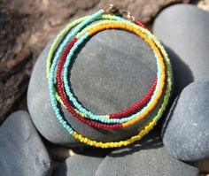 These colors make me think of picnics and gorgeous blue sky. :: summer colors . a soul mantra seed bead necklace