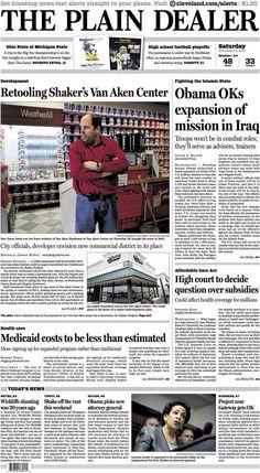 The Plain Dealer's front page for November 8, 2014 #cleveland #newspaper