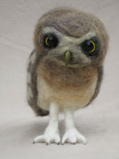 Needle Felted Owl baby No.3   Burrowing Owl by PlainsSong on Etsy, $115.00