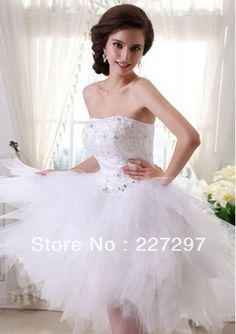 Wholesale Wedding Dresses 2014 - Buy 2014 New Design Sexy Fashion A Line Strapless Knee Length Beading Tulle Wedding Dresses For Brides/Beach Wedding Dress, $230.13 | DHgate