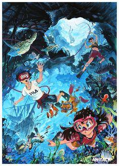 Wave Illustration, Character Illustration, Copic Drawings, Art Drawings, Anime Toon, Anime Art, Korean Art, Environmental Art, Aesthetic Art