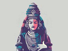 Koodiyattam - Folklore 05 by ranganath krishnamani #Design Popular #Dribbble #shots