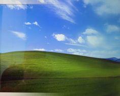 Emilie BROUT& Maxime MARIONBliss (La Colline verdoyante)Impression lenticulaire, caisson lumineux, 50 x 40 cm, 2013Avec le soutien de MediapolePrise par Charles O'Rear à Napa Valley en 1995, la photographie servant de fond d'écran par défaut de Windows XP est considérée comme l'image la plus vue du monde.Depuis sa diffusion en 2001, elle a ainsi engendré un nombre incroyable de variations, de clins d'oeil et de parodies : détournements par les afficionados de Linux, photographies du même