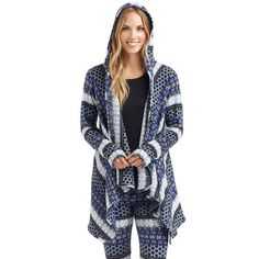 Women's Cuddl Duds Fleece Hooded Wrap Cardigan, Size: L-Xl, Light Blue