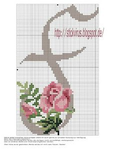 alphabet - f - rose - point de croix - cross stitch - Blog : http://broderiemimie44.canalblog.com/