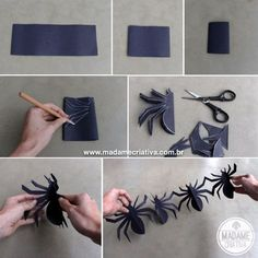 Aniversário tema Halloween - Enfeite de aranha para dia das bruxas - Passo a Passo - PAP - DIY tutorial - How to make spider garland for Halloween
