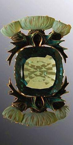 René Lalique Thistle Brooch or Buckle Enamel & Pale Lemon Sapphire? Bijoux Art Nouveau, Art Nouveau Jewelry, Jewelry Art, Vintage Jewelry, Fine Jewelry, Jewelry Design, Jewellery, Gold Jewelry, Lalique Jewelry