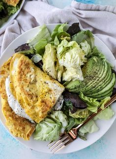 15 Minute Spinach Burrata Omelet with Avocado Salad.
