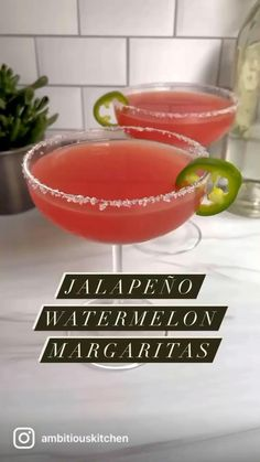 The best skinny jalapeño watermelon margaritas naturally sweetened with watermelon juice and a touch of agave. This sweet and spicy watermelon margarita recipe is easy to make for the ultimate summer cocktail! Options to make a small batch or a pitcher to share.