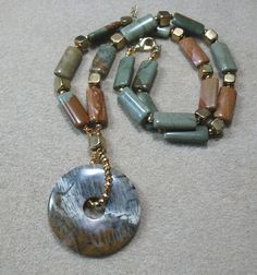 Picasso Jasper Beads Statement Donut Gold Pyrite by Multibeadia, $75.00