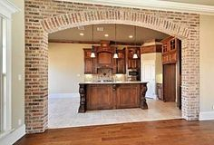 Layout Design, Brick Archway, Sweet Home, New Kitchen, Kitchen Walls, Kitchen Corner, Kitchen Brick, Kitchen Living, Corner Pantry