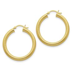 Sterling Silver Gold-flashed Patterned 35mm Hoop Earrings QE6699
