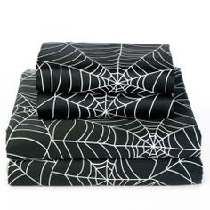 Sin in Linen Spider Web Sheet Set, Full by Sin in Linen. $114.00. 300 Thread Count. Fitted sheet 54 by 75-inch flat sheet 90 by 100-inch pillowcases 20 by 30-inch. Includes 1 fitted, 1 flat and 2 standard pillowcases. 100% Cotton. Machine washable. 100-percent cotton sateen. Black and white spider web printed on 100-percent cotton bedding.