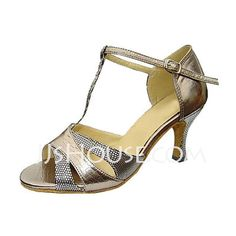 $28.99 - Leatherette Sparkling Glitter Patent Leather Heels Sandals Latin Wedding Party Dance Shoes With T-Strap (053013135) http://jjshouse.com/Leatherette-Sparkling-Glitter-Patent-Leather-Heels-Sandals-Latin-Wedding-Party-Dance-Shoes-With-T-Strap-053013135-g13135